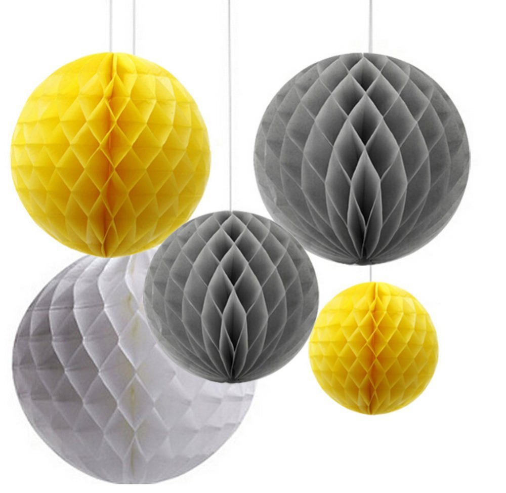 Pack Of 6 Mixed Grey Yellow White Paper Honeycomb Ball Flower