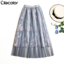 2019 Spring Summer Tulle Long Skirts Women Floral Embroidery Pink Skirt Elastic High Waist Maxi Sweet Girls Lady