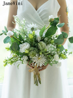 JaneVini Romantic White Bridal Bouquets Artificial Silk Rose Boho Bouquet Green Leaves Bridesmaid Holding Flowers Bouket Wedding