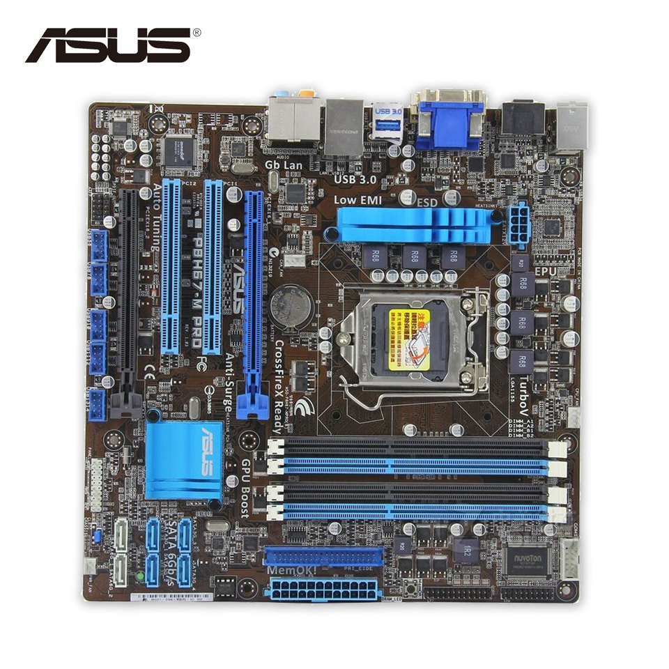 Asus P8H67-M PRO Original Used Desktop Motherboard H67 Socket LGA 1155 i3 i5 i7 DDR3 32G uATX for p8h67 original used desktop motherboard for intel h67 socket lga 1155 for i3 i5 i7 ddr3 32g atx