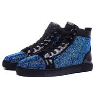 Luxury Brand Mnes Sneakers Rhinestone High Top Lace Up Flats Casual Shoes Mesh Sport Shoes Zapatillas Hombre Deportiva Shoes Men