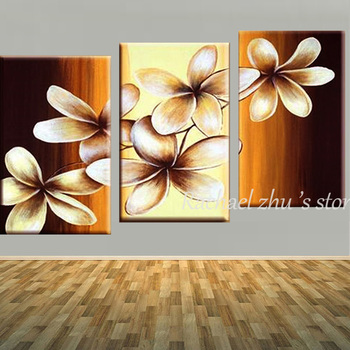 Three Panles Hand Painted Home Wall Abstract Flower Oil Painting On Canvas 3 Pieces Wall Art Pictures For Living Room Home Decor