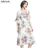 Summer New V Neck Half Butterfly Sleeve Floral Print Chiffon Dress Beach Holiday Elastic Waist Lace Up Elegant Vintage Dress