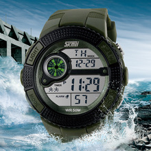 2016 Skmei Marca Reloj de Los Hombres LED Digital Reloj Militar Vestido de Correr Deportes Relojes Moda Hombre Reloj de Pulsera Al Aire Libre