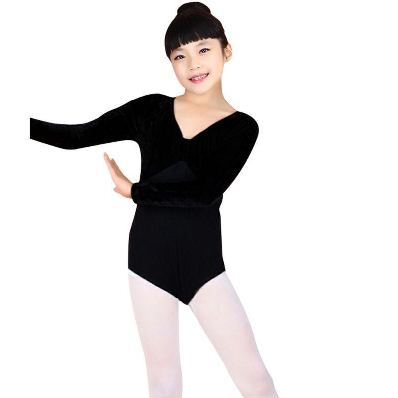 Hot Sale Kids Girls Long Sleeve Ballet Gymnastics Bodysuit Dance Leotard Cotton Dance Costumes