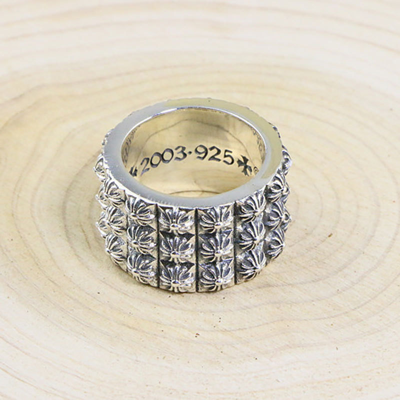 Wide Surface Halley Style S925 Sterling Silver Male Domineering Ring Atmospheric Cross Thai Silver Retro Ring цена