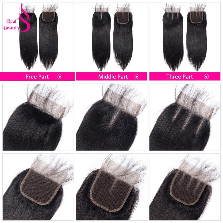 Brazilian Straight Hair 4 Bundles With Closure 100% Human Hair Bundles With 4X4 Closure Non-Remy Real Beauty Hair