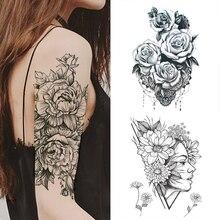 1 шт., модная женская временная татуировка, наклейка, черные розы, дизайн, полный цветок, рука, боди-арт, большая, поддельная татуировка, наклейка