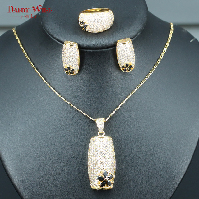 High end Gold Color Bridal Jewelry Sets For Women Wedding Solemn