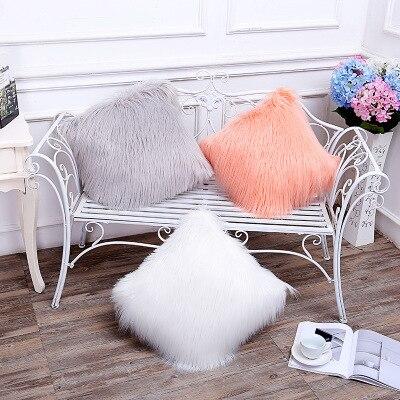 Double side Faux Fur Decorative Pillows Cushion Solid Sofa Car Bedding Cushions Home Decor Nordic Style Pillows almofada 45cm