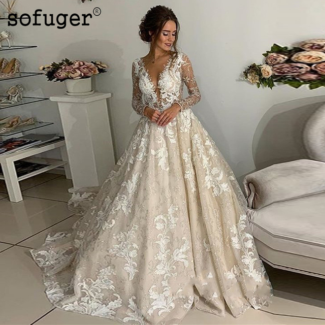 2019 Champion Sexy Luxury Appliques Lace Long Sleeves Ball Bridal Gown Wedding Dresses Vestidos de Noivas Custom White