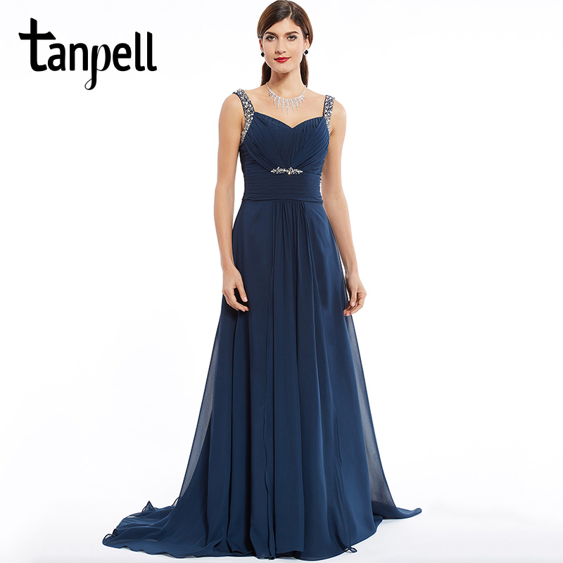 Tanpell Straps Long Evening Dress Elegant Dark Navy Sleeveless Floor Length Dresses Beaded A Line Ladies Formal Evening Dress