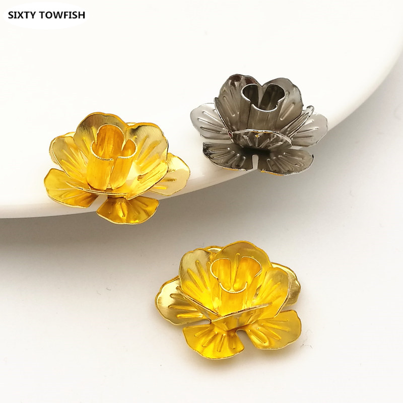 10 pcs/lot 22mm Gold color/White K Metal Filigree Flowers Slice Charms Spacers DIY Components Jewelry Findings B103143