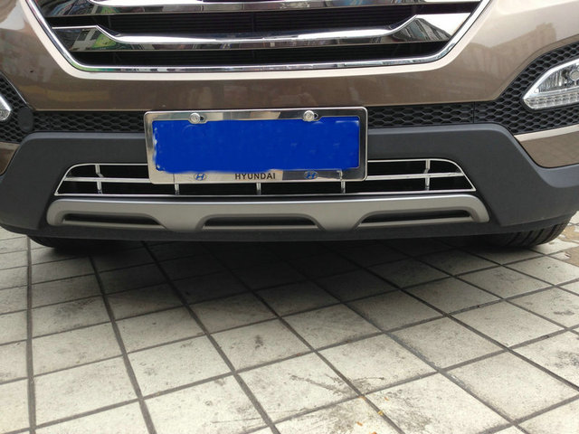 Chrome front grille trim auto grille decoration cover  for  IX45 2015,ABS chrome,