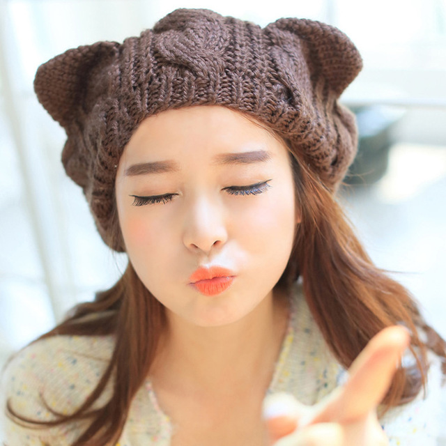 2017 New Winter Beanies Pompom with Lovely Cat Ears Beanie Hats for Women SA