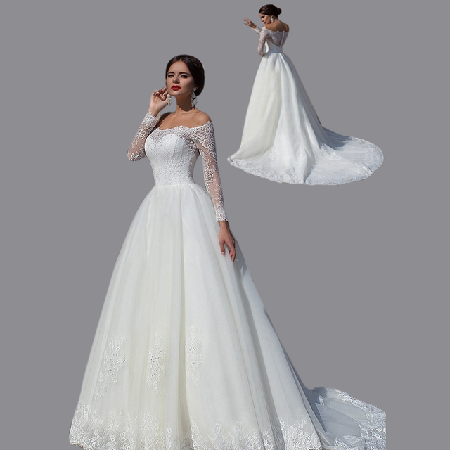 31c52524dd US $245.0 |Ball Gown Appliqued Natural Waist Button Back Bridal Dress Off  The Shoulder 2015 Long Sleeve Wedding Dress Free Shipping EN294-in Wedding  ...
