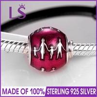 LS High Quality 925 Sterling Silver Family Bonds Charm Beads Fit Original Bracelets Pulseira Encantos 100