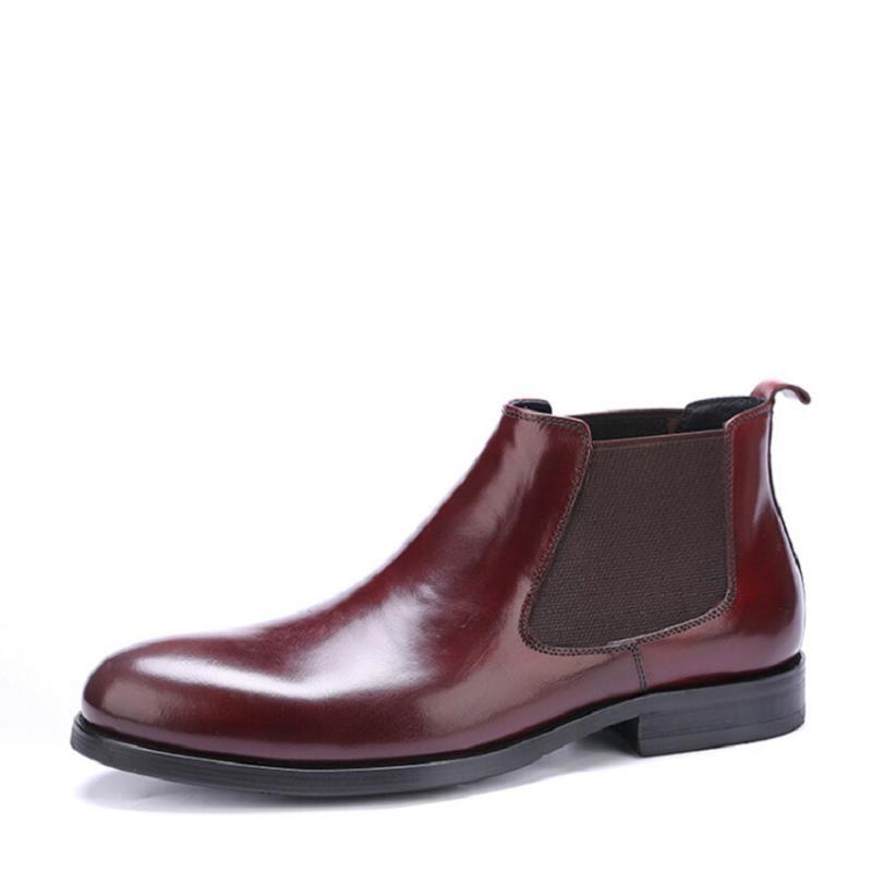Preto Shose Marca vermelho Mycolen Boots Homem Desgaste Chelsea Couro Botas Masculinos De Ao Moda Militar Deslizamento Vinho Respirável Genuíno Sapatos Em Resistentes Casual RdCdHw