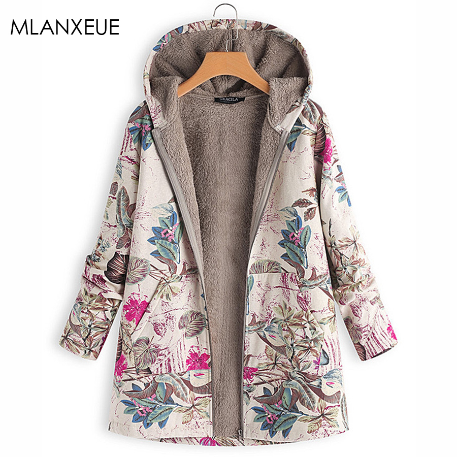 Floral Hoodies Parkas Coats Women Plus Size Winter Hardy Warm Cotton Coat Female Zipper Pocket Casual Office Lady Outerwear Fall