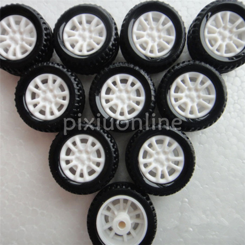 10pcs J253 Mini 20mm Model Vehicle Wheel Hollow Out Rubber Plastic Wheel DIY Model Car Making Free Shipping Russia
