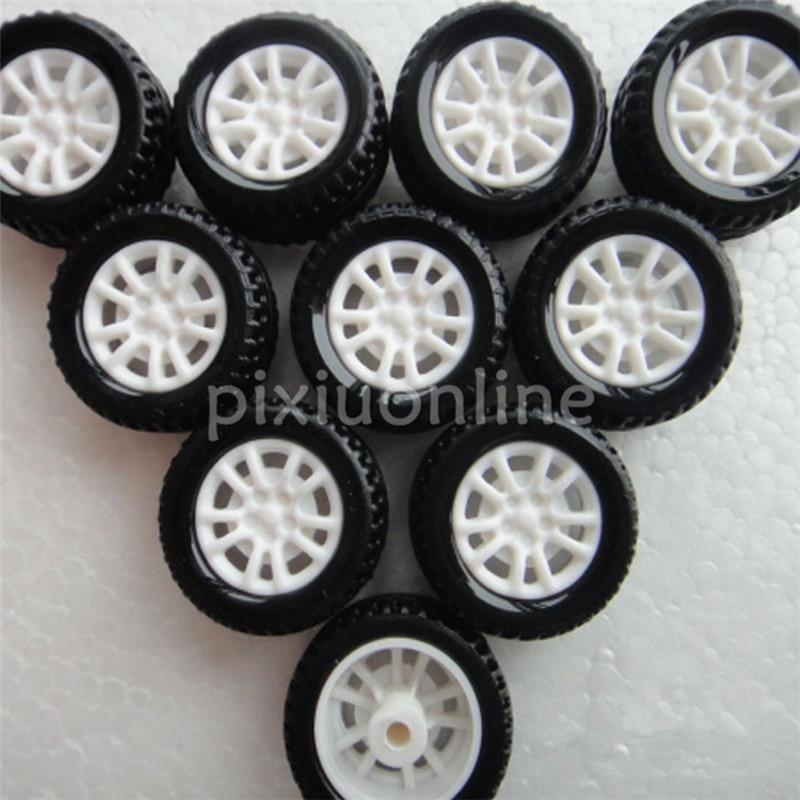 10pcs J253 Mini 20mm Model Vehicle Wheel Hollow Out Rubber Plastic Wheel DIY Model Car Making Free Shipping Russia