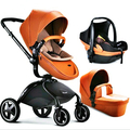 Free shipping pouch high viewpoint landscape leather baby stroller baby trolley egg shape baby buggiest carriage