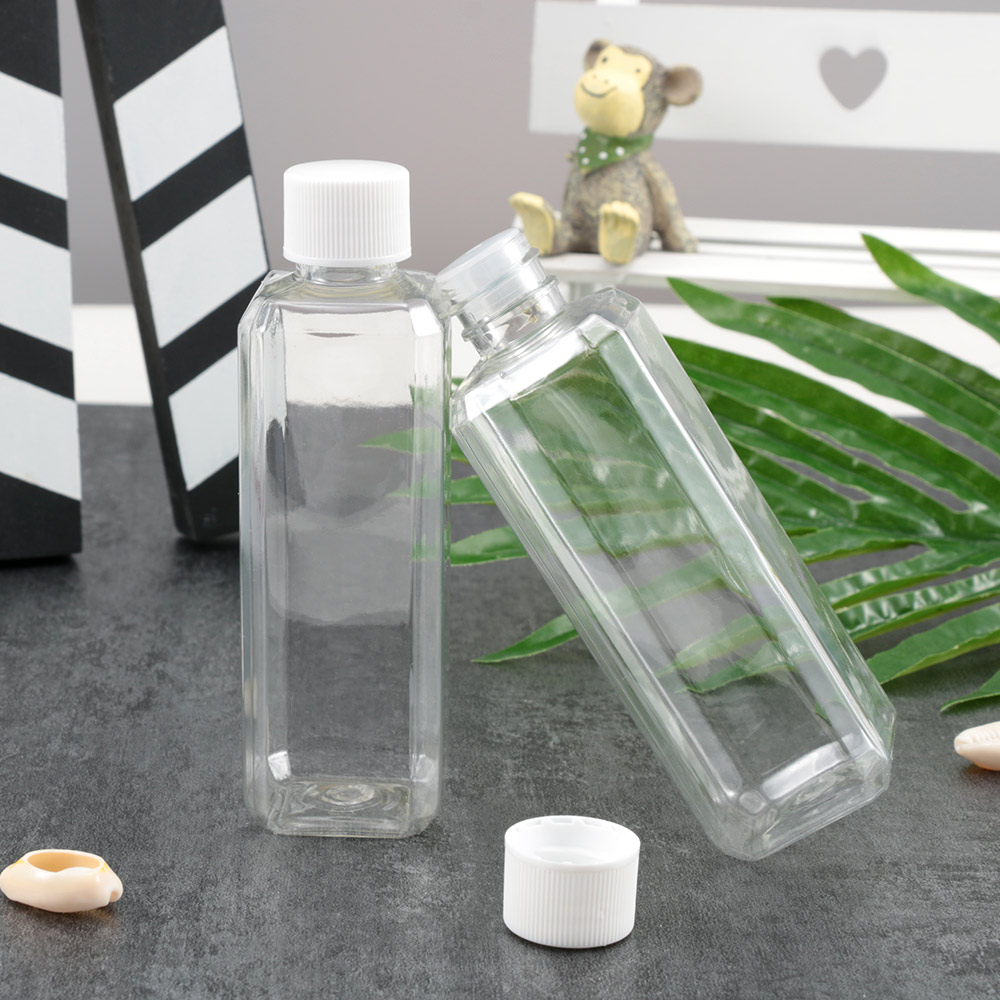 2 Pcs Portable 100ml Clear Plastic Pack Bottle Refillable Bottles Square Screw Cap Bottle Empty Cosmetic Containers