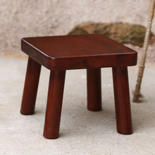 Red oak small square stool coffee table chair new Chinese style solid wood home shoe bench simple furniture
