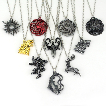 Game of Thrones Stark family lion wolf dragon deer Lannister Targaryen Stark Baratheon Arryn Greyjoy necklace