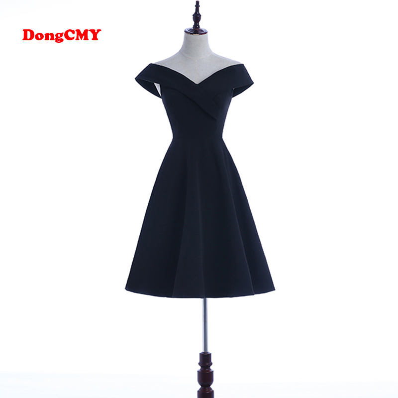 Dongcmy Party-Gown Prom-Dress Chiffon Black Simple V-Neck Cap Short Asymmetrical New-Fashion