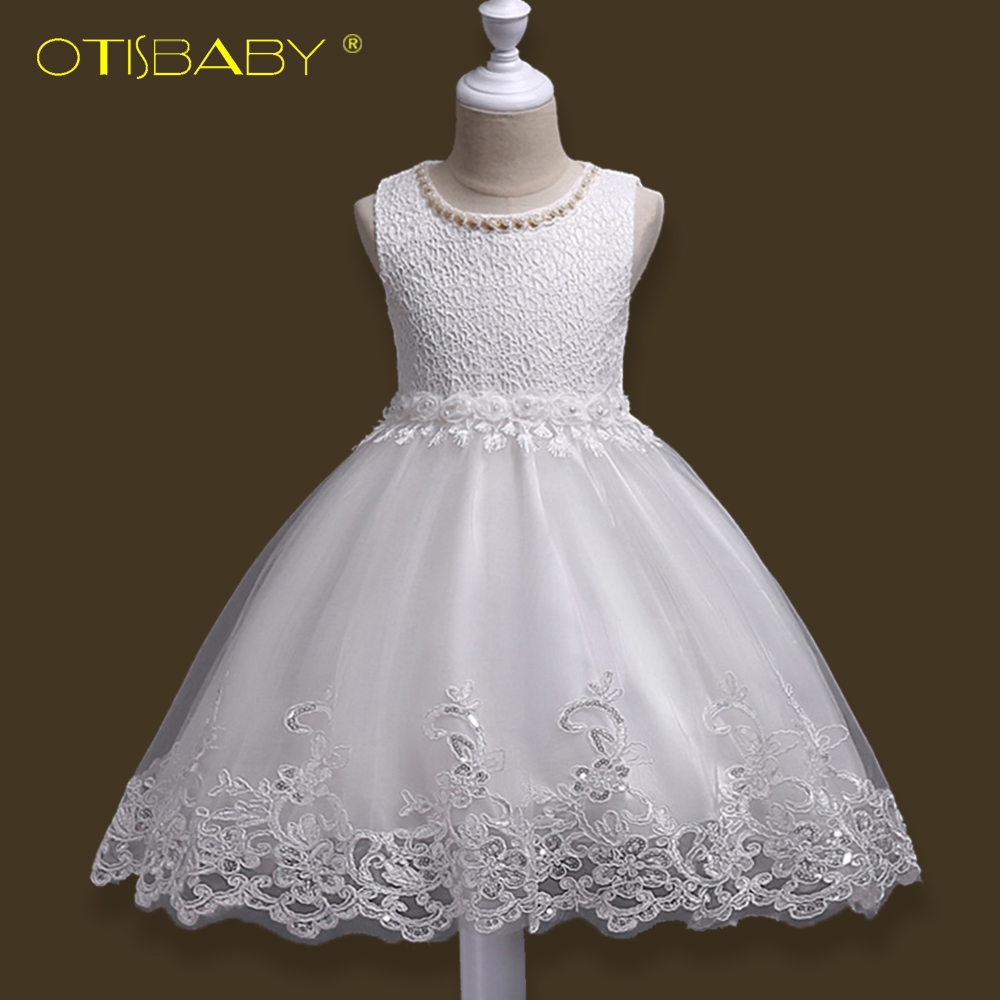 Pouplar Children Fancy White Lace Princess Dress Children Party Beaded Wedding Dresses Summer Kids Girl Sleeveless Flower Dress fashionable sleeveless beaded skinny slimming women s dress