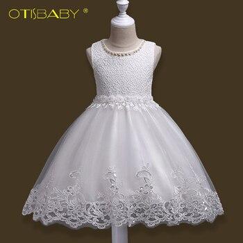 ee6236d12662 Vestido de fiesta de princesa de encaje blanco de lujo para niños vestidos  de boda con cuentas de verano para niñas y niñas vestido de flores sin  mangas