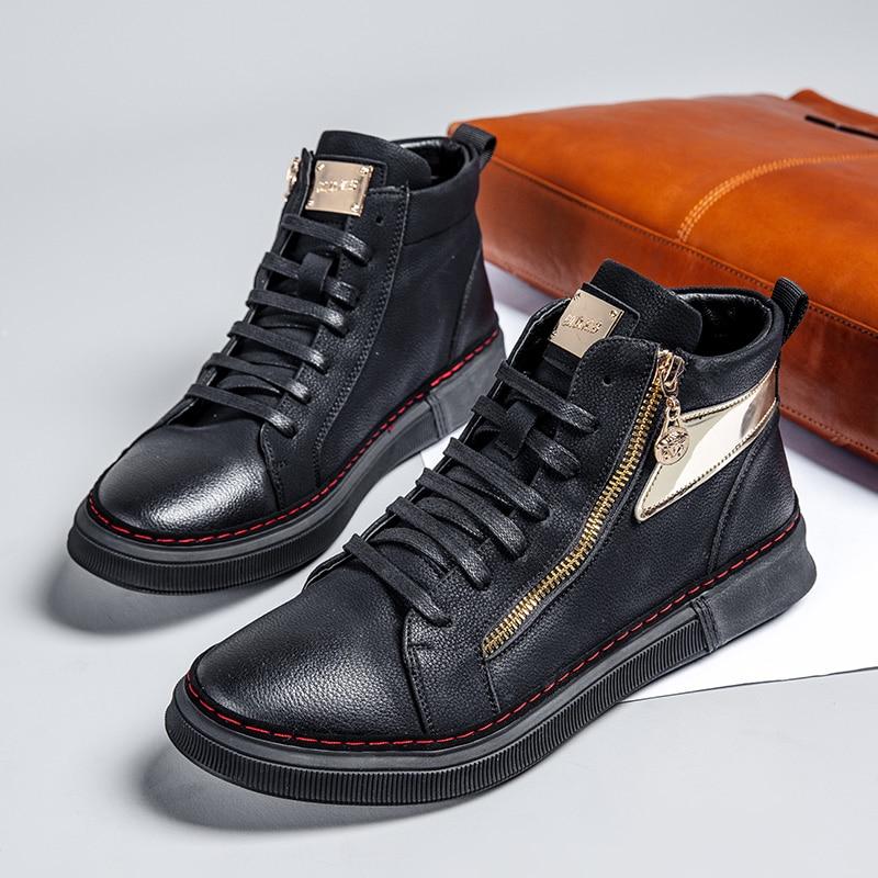 Mens Sexo Casuais Marca Jovens Homens Wearable Caminhada Zíper Negros Confortável Calçado wearing Luxo Sapatos De Black Para Do Masculino Hard nqCC5OxwY