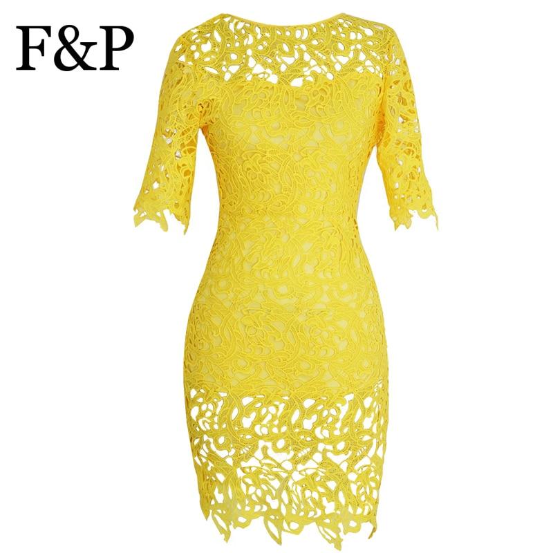 Plus Size Women Brazil Yellow Crochet Bodycon Lace Dress Vintage Floral Boho Evening Party Midi Pencil Dress vestidos blusas