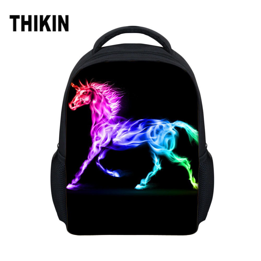 THIKIN Kids Casual Schoolbag Boys Girls Rainbow Unicorn Cartoon Print Backpack Mochila Children Bookbags School Bag Backpack(China)