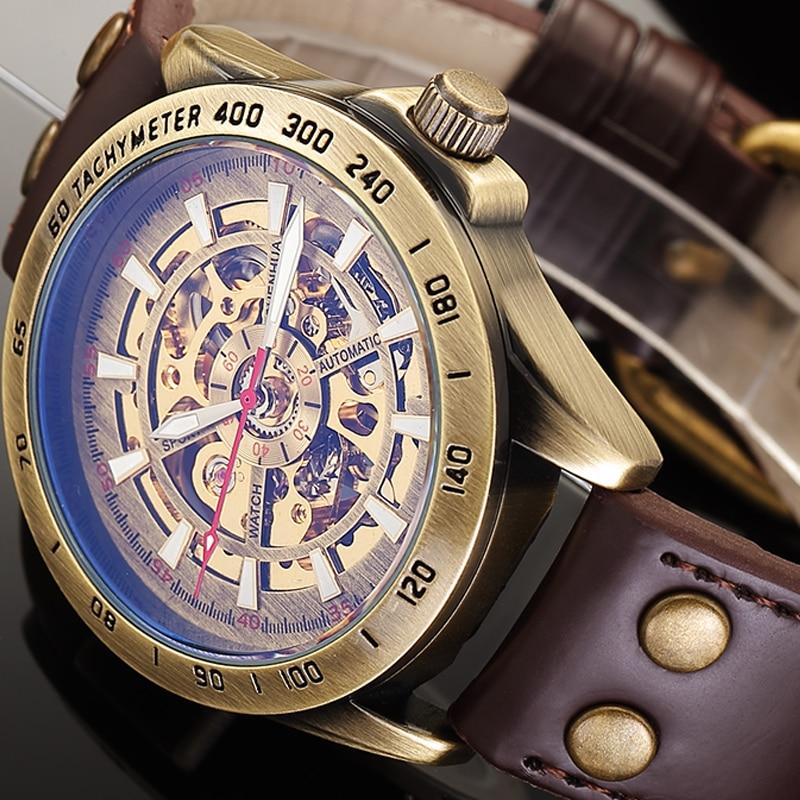 HTB1mntEPY2pK1RjSZFsq6yNlXXaQ Skeleton Mechanical Watch Automatic Watch Men Steampunk Bronze Transparent Mens Automatic Mechanical Watches Clock montre homme
