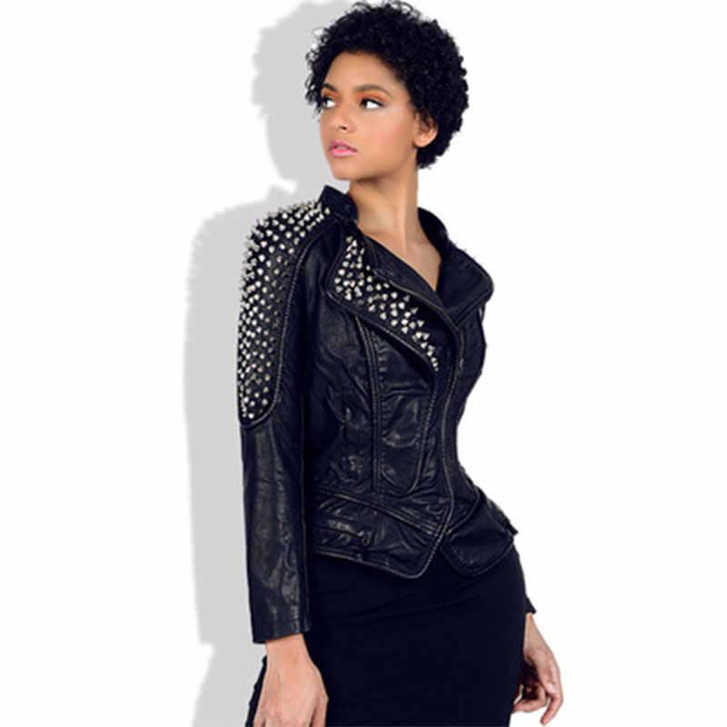 Женская короткая куртка из искусственной кожи с заклепками в стиле панк 6XL, приталенная куртка, большие размеры, кожаная куртка, Байкерская уличная верхняя одежда в готическом стиле для женщин