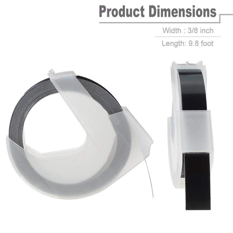 5 Rolls 520109 Compatible DYMO 3//8/'/' Embossing Label Maker Tape White on Black.