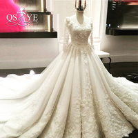 Real Photos 2017 Luxury Lace Wedding Dresses Vestido De Novia Long Sleeves Beaded Flowers Vintage Saudi