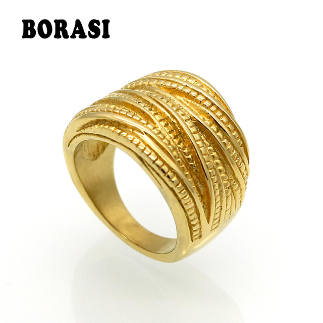 2017 New Arrival Female Luxury Genuine Stainless Steel Jewelry Gold Color Multil