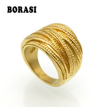 BORASI New Arrival Female Luxury Genuine Stainless Steel Jewelry Gold Color Multilayer Wedding Rings For Women