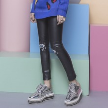 Street fashion classic solid color glossy PU knee embroidery applique paillette elastic fleece legging female