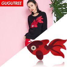 GUGUTREE embroidery Sequins big goldfish patches fish badges applique for clothing XC-72