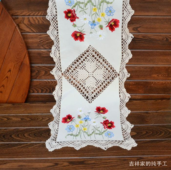 Poppy Handmade Dining Table Runner Coffee Table Tablecloth 40x87cm