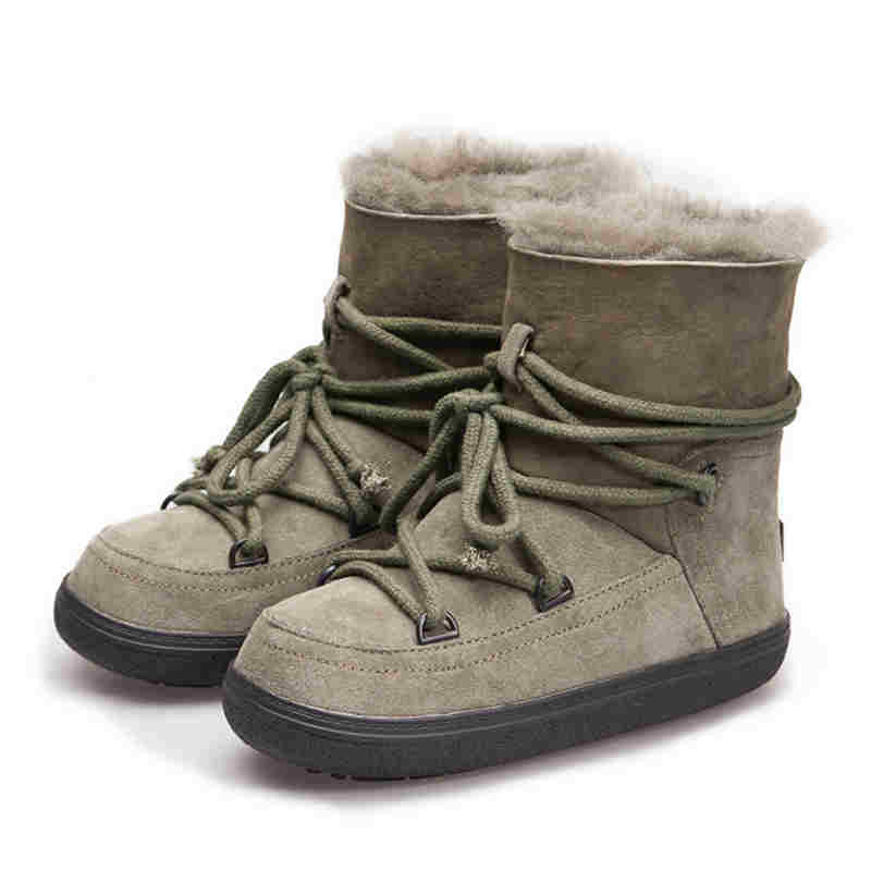 yanicuding Round Toe Fur Women Snow Boots Lace Up Short Booties Fashion Flats Korea Stylish Winter Warm Shoes Ankle Boots Brand