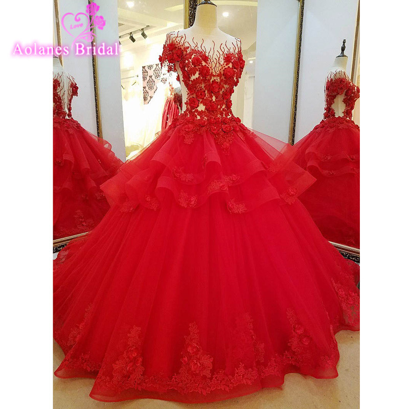 Vestidos de Noiva Robe de Mariage Red Evening Dress Ball Gown Lace Appliques Pearls Beaded Evening Gowns 2017 New Real Photo