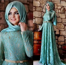 2016 Muslim Evening Dresses A-line Long Sleeves Mint Green Lace Hijab Islamic Dubai Abaya Kaftan Long Evening Gown Prom Dress