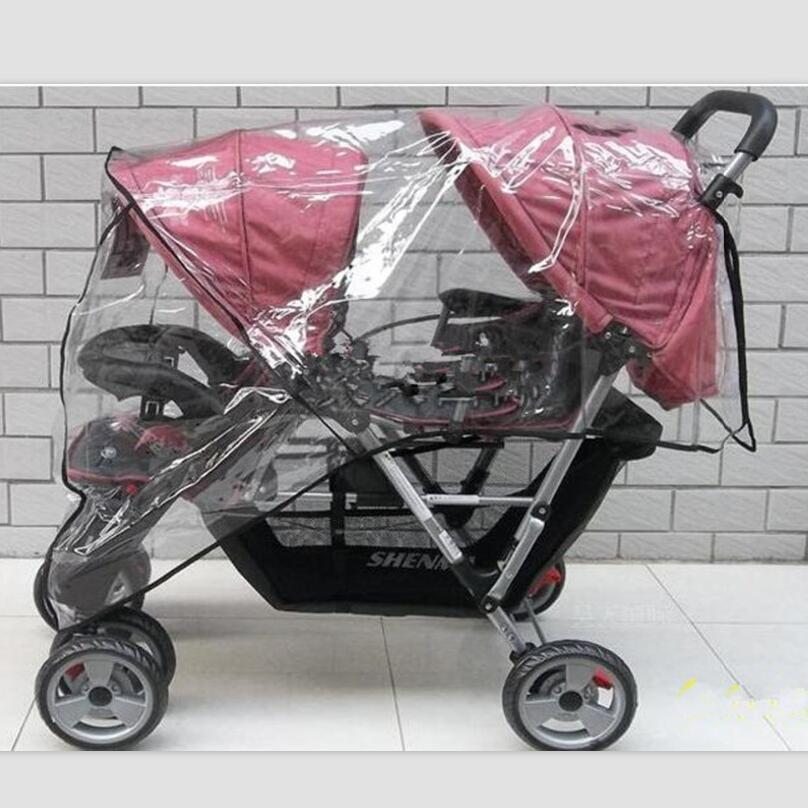 Image 2 - Twin Babies Cart stroller umbrella Water proof Before And After Rain Wind Pushed A Chair Dust Cover Baby Cart YUJU27LL-in Strollers Accessories from Mother & Kids