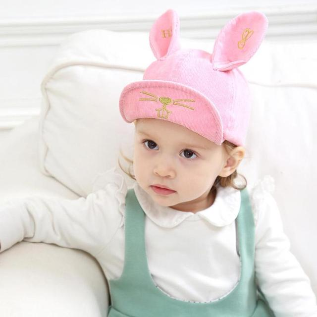 Spring Baby Cute Expression Soft Brim Hat Embroidered Ears Baseball Cap  Animal Flat Brim Caps Beach Kids Favorite Snapback Hat 32aa87fc0b3