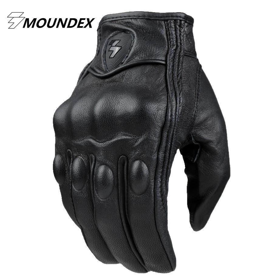 Prix pour Top Guantes Gant De Mode réel En Cuir Pleine Doigt Noir moto hommes Moto Gants Moto De Protection Gears Motocross Gant